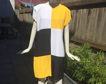Vintage 80's Mod Black, Yellow and White Checkered Dress