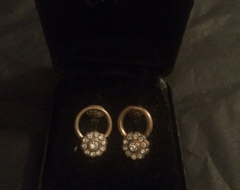 Vintage diamante circular clip on earrings