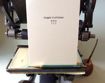 Happy Birthday Letterpress printed handmade card white gold paper with black ink
