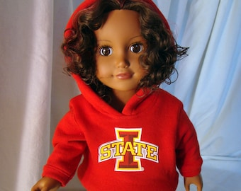 """Iowa State or Your School or Team's Hooded Sweatshirt, Hoodie Doll Outfit; for American Girl Style 18"""" Dolls! School n Dress up Doll Clothes"""