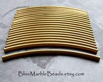 Boho Charm, Curved Tube Bead, Brass Finding, Vintage Finding, Metal Beads, Metal Tube, Chevron Bead, Multi Strand Leather Bracelet, 20 Beads