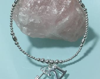 Beautiful sterling silver ball bracelet with 21 and key sterling silver charm stackable birthday