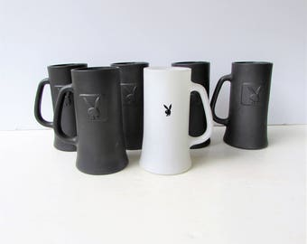 Mid Century Barware - Set of 6 Vintage Playboy Tankards or Tall Mugs - Colored Glass - Bunny Logo  Playboy Club - 5 Black and 1 White -