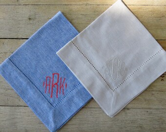 Monogrammed  Hemstitched Napkins- Comes in 2 colors and sets of 4, 6, 8, and 12