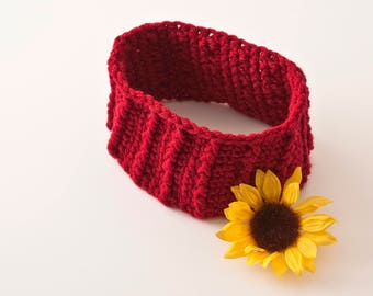 SALE Headband, Burgundy Ribbed, Adult Size