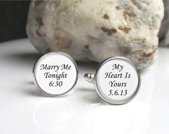 Wedding Groom Cufflinks, Personalized Cuff Links, Keepsake Gift For Groom