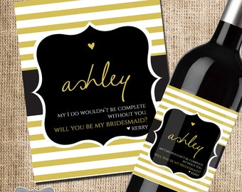 Will you be my bridesmaid gift, bridesmaid wine bottle label, wedding wine label, wedding party gift, asking bridal party, bridesmaid gift