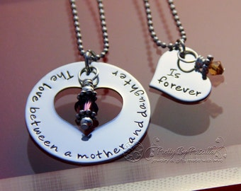 Mother Daughter Necklace Set-Mother Daughter Jewelry-The Love Between Mother and Daughter is Forever-Heart Cut Out Necklace
