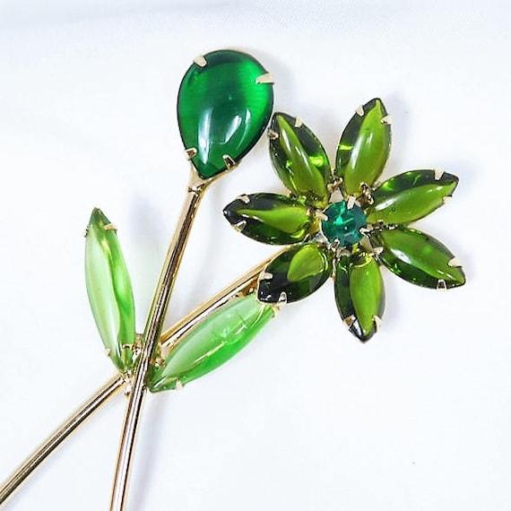 Rhinestone Flower Floral Brooch / Hand Blown Glass