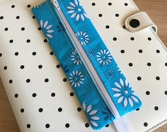 Turquoise Blue and White Flower Planner Band Pen Pouch / Pencil Case