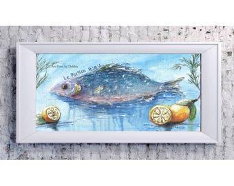 Art mural de cuisine, de cuisine Français, Paris cuisine Decor, decoration murale Paris, Paris cuisine décor thème, décor de cuisine bleu, bleu jaune