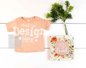Bella Canvas Peach Baby Shirt Mock-Up Infant Peach Shirt Mockup Vinyl Shirt Pictures Image Photo Shirt Peach Mock Up Shirt Bella Canvas