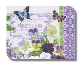 Floral paper napkin for mixed media, collage, decoupage, scrapbooking (cocktail)  x 1 Vintage Violets. No 1211