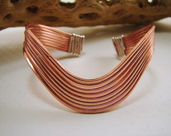 Hand Forged Copper and Sterling Silver Bracelet - Customizable