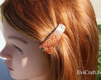 Hand tooled Leather French hair barrette, Leather Hair clip, women Hair Accessory, hair fashion, brown leather accessory
