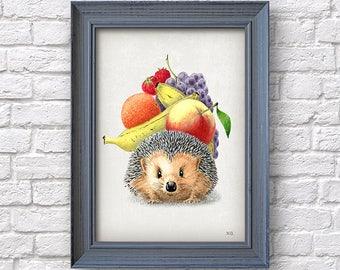 Hedgehog print, fruits illustration, funny poster dining  kitchen room, Dorm Home kid room wall decor,