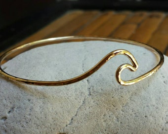 Wave Bangle Ocean Jewelry 14 Karat gold filled Made in Hawaii