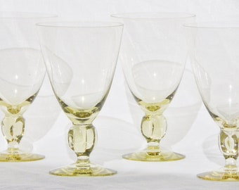 Swedish Crystal Water Glasses Yellow Lobed Stemware Set of (4)