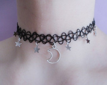 moon and stars necklace - tattoo choker - grunge choker - pastel goth - kawaii