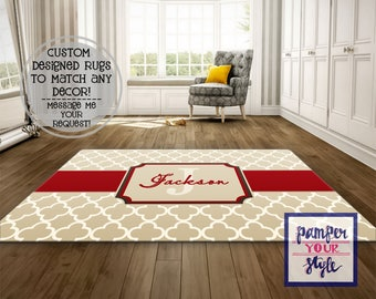 Tan and Red Area Rug, Beige and Tan Living Room Rug, Personalized Area Rug, Monogrammed Area Rug