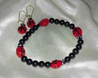children's ladybug bracelet & earrings