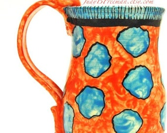 Mug Ceramic Spotted Whimsical Stoneware Handmade to Order Kitchen Cup MG0052