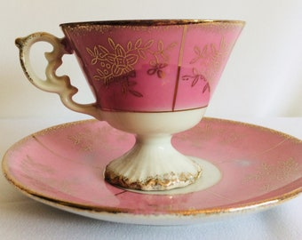 Pink lustre China tea cup and saucer vintage pink tea cup pink and gold tea cup