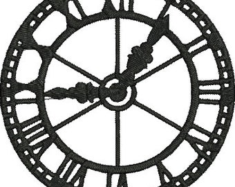 Clock Digitized Machine Embroidery Design Time