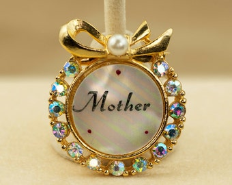 Vintage MOM Brooch - Mother of Pearl AB Rhinestone Circular Vintage Gold Tone Mother Brooch