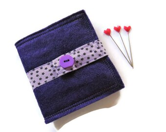 Needle Book - Purple Felt Needle Case - Felt Needle Case - Sewing Needle Case - Hand Sewing Needle Case - Needle Book