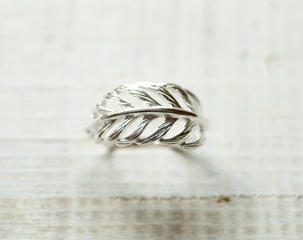 Feather ring, Silver feather ring, Freedom Ring