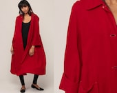 Red Wool Coat 70s Jacket Mod Long Jacket Boho Button Up 1970s Collared Bohemian Spy Collar Medium Large