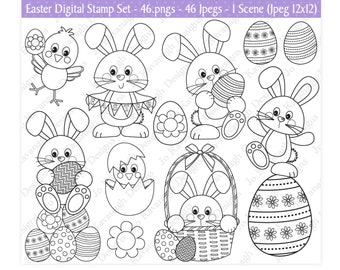 Easter Digital Stamps,Easter Stamps,Easter Clipart,Easter Colouring,Easter Bunny Clipart,Easter Eggs Clipart,Easter Chicks,Scrapbooking