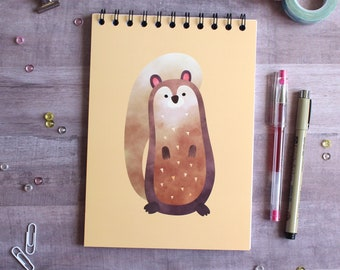 NOTEBOOK. A5 Cute Squirrel Spiral Notebook. Soft 300 gsm Card Cover. 100 lined pages. Matte lamination pleasant to the touch.