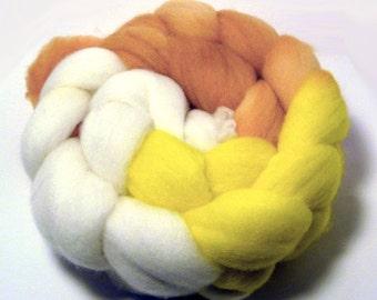Handdyed Merino Roving - Sunshine and Ice Cream - yellow, orange, ivory