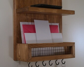 Key Rack-Mail Organizer-Shelf-Special Walnut Finish