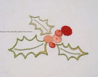 Boughs of Holly modern hand embroidery pattern - modern embroidery PDF pattern, digital download