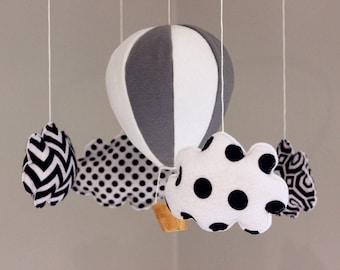 Montessori  Mobile Grey White Black Hot Air Balloon