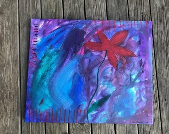Acrylic painting, flower, abstract, intuitive art