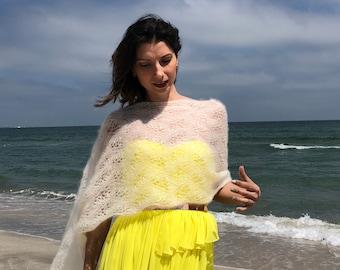 Cremia hand knitted wedding shawl