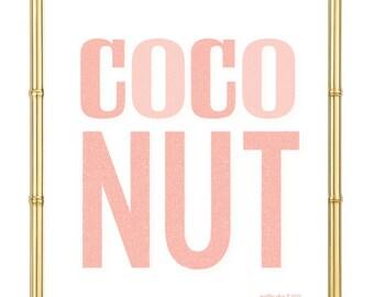 Blushing Coconut Print  - Beach - Summer - Bar Cart - Art Print - Wall Art - Pretty Chic SF