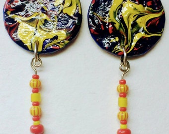 Painted Paper and Bead Dangle Earrings