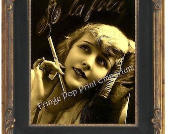 Art Deco Flapper Art Print 8 x 10 - Glamorous Smoking French - Art Nouveau