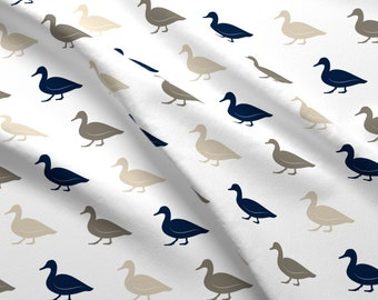 Duck Fabric - Multi Duck || Rustic Woods By Littlearrowdesign - Ducks Birds Waterfowl Neutrals Cotton Fabric By The Yard With Spoonflower