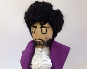 Prince. Purple Rain. Mini Icon Doll. Textile Art.