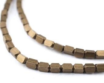 90 Antiqued Brass Cube Beads: Ethnic Metal Beads Metal Spacer Beads Ethnic Brass Beads 3mm Brass Beads Brass Block Beads (MET-CUB-BRS-601)