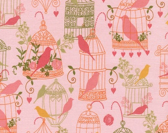 Bird Cages - 1 yard Cut - Timeless Treasures - Cotton Fabric - Quilting Fabric - Bird Fabric