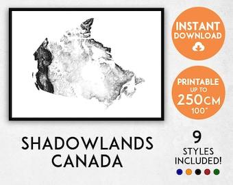 Shadowlands Canada map print, Canada print, Canada poster, Canada wall art, Map of Canada, Canada art print, Canada map poster, Canada gift