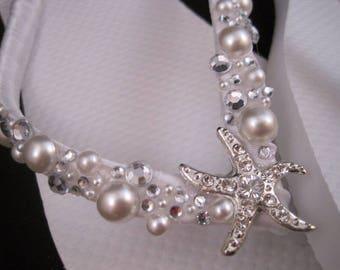 Shoshanna Bridal Flip Flops, Custom Flip Flops, Starfish Dancing Shoes, Starfish Bridal Sandals, Wedding Flip Flops, Beach Wedding Shoes