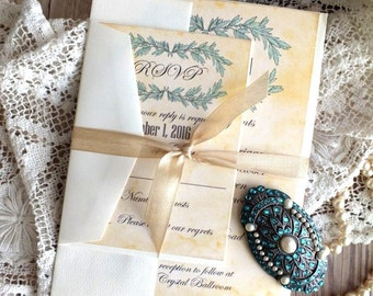Vintage Romantic Elegant Wedding Invitation SAMPLE Handemade by avintageobssion on etsy
